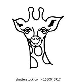 Cute giraffe face. Children's illustration. Handwork. Wild animals. Africa. Cartoon. Coloring. Black line.