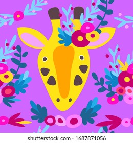 Cute giraffe with flowers on his head with a bouquet of flowers. Seamless vector doodle illustration for postcard, packaging, background, cover. Cartoon character animal pattern Africa wildlife