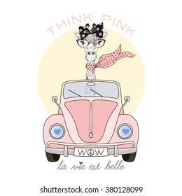 Cute Giraffe Girl Driving Pink Car, Think Pink Life Is Beautiful, Kid  Illustration,