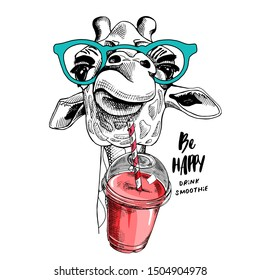 Cute Giraffe in a glasses with a Plastic Cup Mockup of Smoothie. Humor card, t-shirt composition, hand drawn style print. Vector illustration.