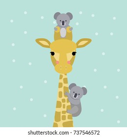 Cute giraffe and koala bear colored looking straight at you. Vector illustration. Modern design.