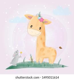 Cute giraffe and rabbit buddy draw with watercolor brush.