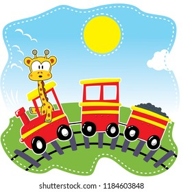 Cute giraffe riding toy train on white background illustration vector