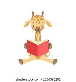 Cute giraffe sitting on the floor and reading book, funny jungle animal cartoon character vector Illustration on a white background