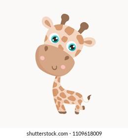 Cute giraffe vector illustration.