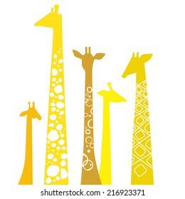 Cute giraffes. Vector illustration.
