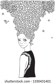 Cute girl. Adult Coloring book page. Black and white Hand-drawn vector illustration. Zentangle style.