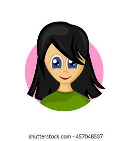 Cute girl avatar. pretty young Black head and blue eyes