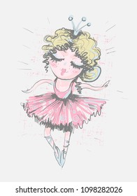 Cute girl ballerina. Surface design for kids . Vector graphic for children fashion clothing. Use for print, fashion wear
