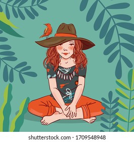 Cute girl with bird in garden. Nature landscape background. Summer holidays illustration. Vacation time