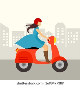 Cute girl with blue dress riding red scooter concept vector illustration. She has a helmet on her head. Woman ride a motorbike in the city in flat design.