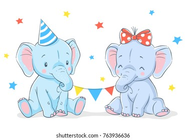 Cute girl and boy elephants cartoon hand drawn vector illustration. Can be used for t-shirt print, kids wear fashion design, baby shower invitation card.