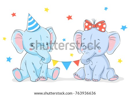 77dc02572 Cute girl and boy elephants cartoon hand drawn vector illustration. Can be  used for t