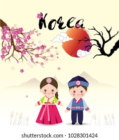 Cute girl and boy standing under sukura tree in Korean traditional costume with sun and mountain,cartoon style for happy new year card, festival, banner, printing,spring background.vector illustration