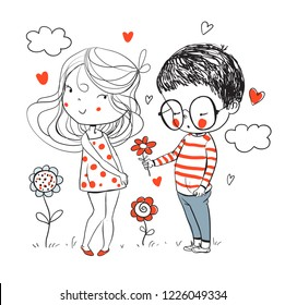 Cute girl and boy. Valentine's Day. Love card.