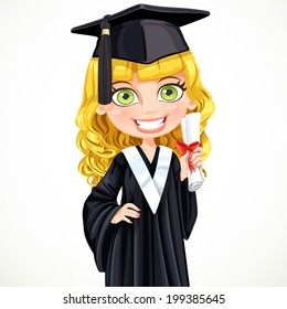 Cute girl in cap and gown graduate holding a scroll diploma