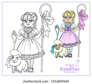 Cute girl in carnival costume of shepherdess with a staff and a sheep color and outlined for coloring page