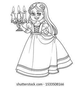 Cute girl in carnival costume vampire with a candlestick in hand outlined for coloring page