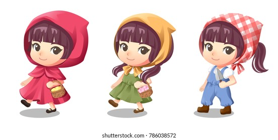 Cute girl cartoon character design wearing little red riding hood, peasant girl and farmer girl on white background vector