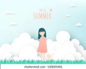 Cute girl and cat with Beautiful sky background paper art and pastel color scheme vector illustation