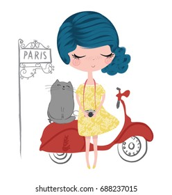 Cute girl with cat and motorbike illustration.