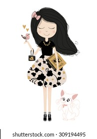 Cute girl with cat vector. Book illustration for children. T-shirt Graphic. Romantic cartoon character.Animal lover .