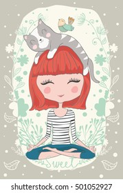 Cute girl with cat vector design.