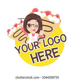 Cute girl character with crepe strawberry logo, object, symbol, text, isolate on white background, cartoon vector illustration.
