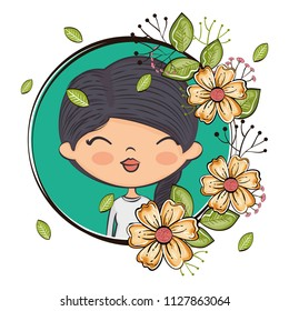 cute girl character with floral frame