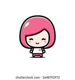 Cute girl character vector design