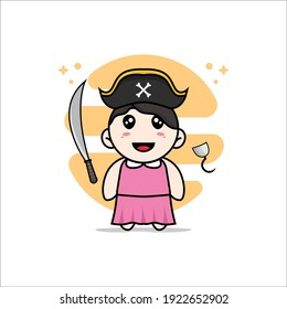 Cute girl character wearing Pirate costume. Mascot design concept