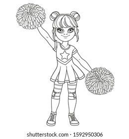 Cute girl in a cheerleader costume with big pompons outlined for coloring page