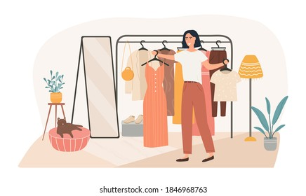 Cute girl chooses clothes from the hanger. Confusion young woman in dressing room. Trendy beautiful girl makes a difficult choice. The problem of choice. Flat Cartoon Vector Illustration