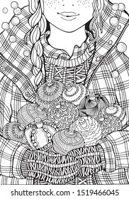 Cute girl and christmas balls. Adult Coloring book page. A4 size. Hand-drawn vector illustration.  Zentangle.