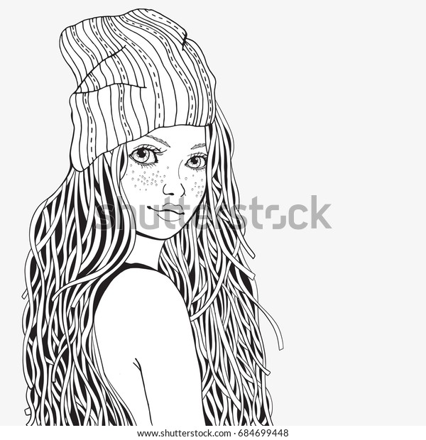 Cute Girl Coloring Book Page Adult Stock Vector (Royalty ...