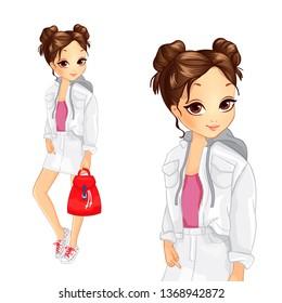 Cute Girl In Cool White Denim Suit