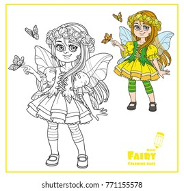 Cute girl in the costume of spring fairy holds a butterfly on her finger color and outlined isolated on white background
