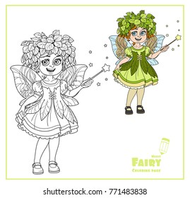 Cute girl in the costume of a spring fairy with magic wand color and outlined isolated on a white background