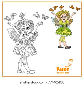 Cute girl in the costume of a spring fairy with butterflies color and outlined isolated on a white background