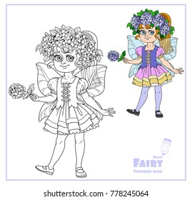 Cute girl in the costume of a summer fairy in flower wreath of hydrangea color and outlined isolated on a white background
