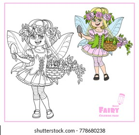 Cute girl in the costume of summer fairy in flower wreath of roses and with basket with sprouts in hands color and outlined isolated on a white background