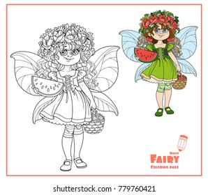 Cute girl in the costume of summer fairy in flower wreath with watermelon and strawberry color and outlined isolated on a white background