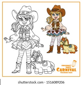 Cute girl in a cowboy carnival costume and with plush horse toy color and outlined for coloring page