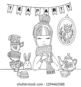 Cute girl in cozy sweater and scarf drinks hot tasty cups of tea with rabbit. Vector tea party illustration for coloring art
