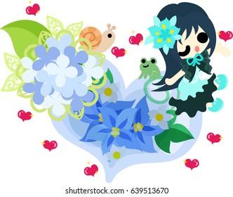 A cute girl and a crystal heart of hydrangeas