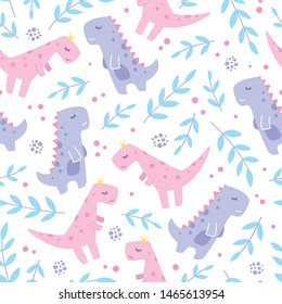Cute Girl Dinosaurs Seamless Pattern Background