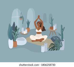 Cute girl doing yoga poses. Lifestyle by young woman in home interior with homeplants. Cartoon vector illustration