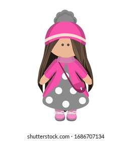 Cute girl doll with long brunette hair in a knitted pink hat and a handbag in gray polka dot dress. Children's cartoon character rag doll in winter clothes. Vector illustration