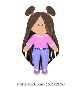 Cute girl doll with long brunette hair in pink t-shirt and blue jeans and violet sneakers. Children's cartoon character rag doll in summer clothes. Vector illustration