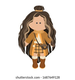 Cute girl doll with long brunette curly hair in a white blouse,beidge skirt and coat. Children's cartoon character rag doll in winter clothes. Vector illustration